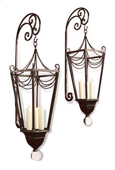 Vintage Large Wall Candle Sconces Wrought Iron Metal Reflective Mirror Backs in Collectibles, Decorative Collectibles, Wall Hangings, Mirrors Wall Lights, Candle Lanterns, Candles, Candle Wall Sconces, Lanterns, Glass Finial, Ornate, French Candle, Light