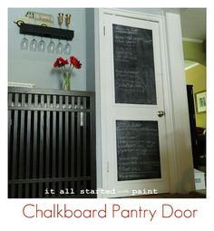I'm doing this on the outside of our pantry door!  We don't have panels, but I can create them out of molding after I paint the area on the door.  What an awesome idea!