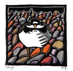 """Sandy Loo"" - Howard Towll (hand coloured lino print)"