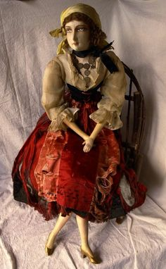 Sultry Gypsy Corseted Flapper Bed Doll Gerb Type Boudoir doll All Original Tattered Beauty