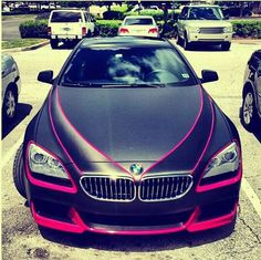 BMW....Loving the pink outlines on black matte