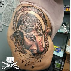 Books still closed.Lord ganesha. 2 sessions and some good shows on netflix. @joyfullyevan sat like a thug lol. Thanks for thr trust in the process. #ganesha #ganeshatattoo #hiptattoo #thightattoo #hindu #girlswithtattoos #illustration #handdrawn #freehand #originaldesign #empiretattooinc #elephanttattoo #elephant #bostonbasedtattooartist