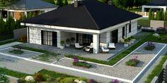 to wyjątkowy dom z kategorii projekty domów do 130 House Plans Mansion, New House Plans, Modern House Plans, Modern Bungalow House, Bungalow House Plans, House Layout Plans, House Layouts, House Outside Design, House Design Pictures