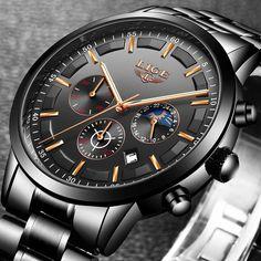 Men Fashion Sport Quartz Watches Business Waterproof Watch Relojes 2018 Watch Men LIGE Fashion Sport Quartz Clock Mens Watches To Men's Watches, Sport Watches, Cool Watches, Fashion Watches, Wrist Watches, Datejust Rolex, Stylish Watches, Luxury Watches For Men, Style Brut