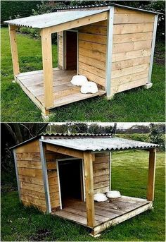 Dog house with porch, wood dog house, porch house plans, pallet dog house Dog House With Porch, Wood Dog House, Pallet Dog House, Build A Dog House, Porch House Plans, Diy Outside Dog House, Large Dog House Plans, Dog House From Pallets, Doggy House