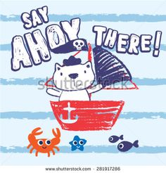 Say Ahoy There. Cute little cat pirate sailing and playing fishes and crab.sea star. Cute vector illustration. hand drawing