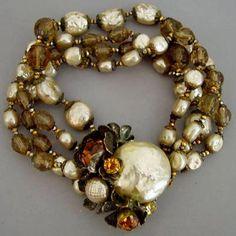 Miriam Haskell - Bracelet Multirangs - Perles Nacre et Topazes Imitation