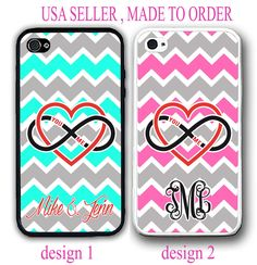 LOVE INFINITY HEART TEAL PINK GREY CHEVRON MONOGRAM CASE FOR IPHONE 6S 6 SE 5S 5 #UnbrandedGeneric
