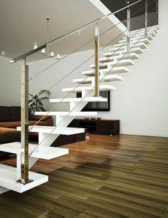 escalera de eje central blanca barandilla moderna - Barandillas Escaleras Interiores