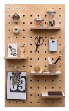 Are you interested in our Wooden pegboard plywood storage panel? With our natural birch plywood peg board you need look no further. Hang Pegboard, Wooden Pegboard, Pegboard Storage, Wooden Pegs, Wall Storage, Pegboard Display, Garage Storage, Storage Ideas, Plywood Storage