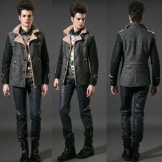 Men Black Wool Single Breasted Winter Fashion Dress Jackets Coats SKU-11401478