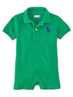 Baby Boy Polo Mesh Shortall - Baby Boy Newborn 0-9 Months - Ralph Lauren France