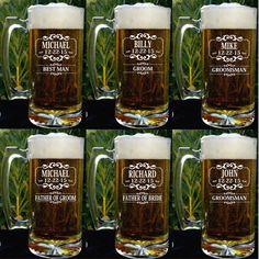 Groomsman Clear Glware Set Beer Mug Gifts Personalized Engraved Wedding