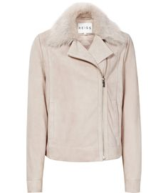 Womens Pale Pink Cropped Leather Biker Jacket - Reiss Clemence