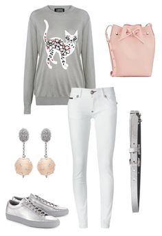 """""""Play with your cat"""" by aakiegera on Polyvore featuring мода, Mansur Gavriel, Markus Lupfer, Philipp Plein, Common Projects, Just Cavalli и Oscar de la Renta"""