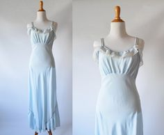 Vintage  c. 1940's Pastel Blue Nightgown  | Long  Sleeping Gown by GracedVestige on Etsy