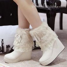 Sweet Lace Bowknot Fur Snow Boots - http://elegantshoegirl.com/product/sweet-lace-bowknot-fur-snow-boots/
