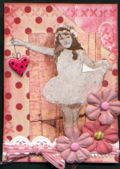 decoupage with flowers and ribbon