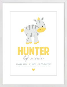 Grey and Yellow Zebra Custom Name Nursery Wall Print to brighten up your kid's room. Personalised artwork prices start at $9.00. #nurserywallprints #customname #grey #yellow #zebra