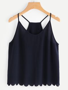 Scallop Detail Overlap Back Cami Top