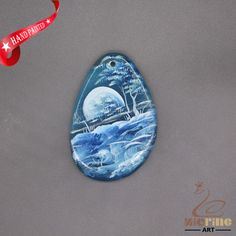 HAND PAINTED SCENERY GEMSTONE STONE NECKLACE PENDANT BEAD D1703 1650 #ZL #PENDANT