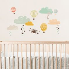 Vintage Aeroplanes Vintage plane - hot air balloons fabric wall sticker for aeroplane / aviation themed nursery. Available from Love Mae. Nursery Wall Stickers, Wall Decals, Room Stickers, Wall Art, Nursery Themes, Nursery Decor, Themed Nursery, Nursery Fabric, Deco Kids