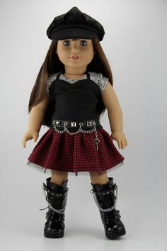 """American Girl doll clothes - 4 piece punk style skirt outfit (fits 18"""" doll) (432red)"""