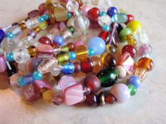 5 Summer Time Bracelets Multicolored Glass Beads by Spasojevich, $10.00