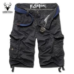 summer men shorts 2017 new multi-pocket casual shorts homme plus size loose cargo short pants men(no belt)