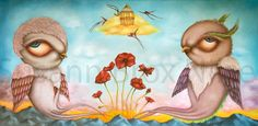 Giclée signed print Garden of red poppies by WeirdwonderfulSusi