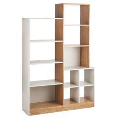 Oak And Linen White Large Tall Shelving Unit