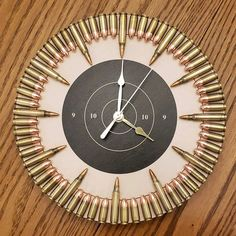 The ultimate veteran gift and any freedom loving American Patriotic Flag & Bullet Clock. The ultimate gift for veterans Bullet Casing Crafts, Bullet Crafts, Gun Decor, Army Decor, Ammo Crafts, Wood Crafts, Bullet Shell, Bullet Art, Gun Rooms