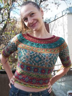 Half-way done with Anatolia by Marie Wallin!  Need to lengthen the sleeves and body now.   Knit by dayana on Ravelry.
