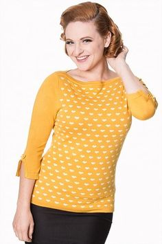 Modern Love Knit Top, Mustard Hearts
