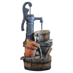 Jeco Inc. Polyresin and Fiberglass Tiered Classic Water Pump Fountain