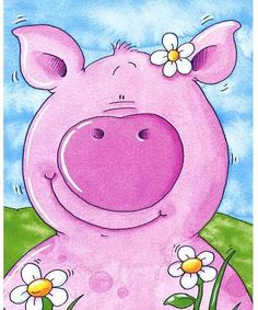 The pig looks like me Painting For Kids, Art For Kids, Pig Art, Cute Piggies, Cute Clipart, Happy Paintings, Little Pigs, Whimsical Art, Illustrations