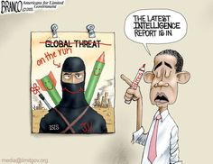 Bad Intelligence due to obama clinging to his world view and ultra-leftist politics. Cartoon by A.F.Branco ©2015