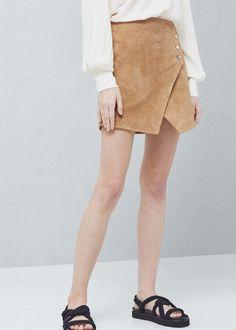 Wickelrock aus wildleder - Röcke für Damen | MANGO