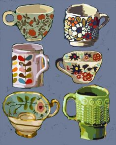 Six Teacups, illustration by elissa turnbull