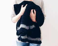 Crochet Chevron Blanket Black and Grey Crochet Throw by kckshop