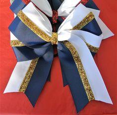 Softball Hair Bows/Black and custom color hairbows/Glitter Hair Bows Softball HairBows/ Navy Blue an Softball Hair Bows, Pixie Cut Round Face, Dance Bows, Cute Cheer Bows, Blue Cheer, Softball Hairstyles, Blue And White, Navy Blue, White Gold