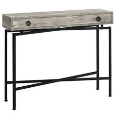 Monarch Specialties Grey Reclaimed Wood-Look Modern Console Table at Lowe's. Add a touch of contemporary styling to your home with this grey reclaimed wood-look console table. Ideal for entryways, hallways or anywhere you would Narrow Console Table, Modern Console Tables, Furniture Deals, Table Furniture, End Tables With Drawers, Consoles, Wooden Textures, Decorate Your Room, Particle Board