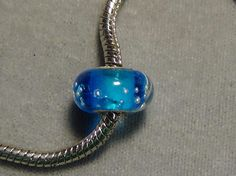 blue European glass bead .925 with silver big hole 104 #European