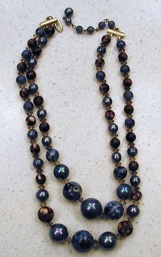 Vintage Japan Retro 1960s Purple and Blue Marble Beaded Necklace 10% Discount by BESTBUYONLINES, $11.00