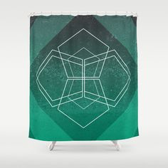Geometric - Teal Shower Curtain
