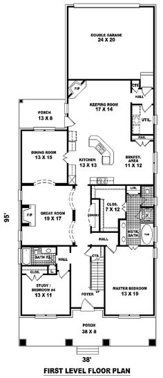 first floor plan of craftsman narrow lot house plan 46858