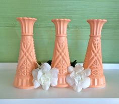 Beautiful Peach Bud Vase Set  6 tall. Choose from 3, 4, 5 or 6 and either the same style of vase for the entire set (reference the style of vase in the photo) or an eclectic mix of vase styles.  Hand Painted Vintage Upcycled Glass Decorative Vases. You can fill with water and flowers.  CUSTOMIZATION: If you are wanting a different color combination, color quantity, etc... please let me know through a convo up front or in the notes to seller section. You can also inquire about an eclectic mix…