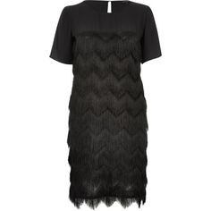 River Island Womens Black premium fringed t-shirt dress