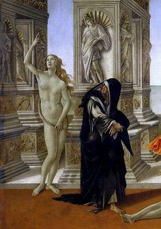Клевета (деталь - Нагая и кающаяся истины). Сандро Боттичелли