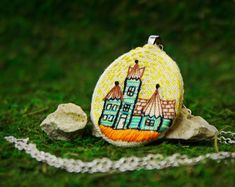 Hand Embroidered Little Victorian house